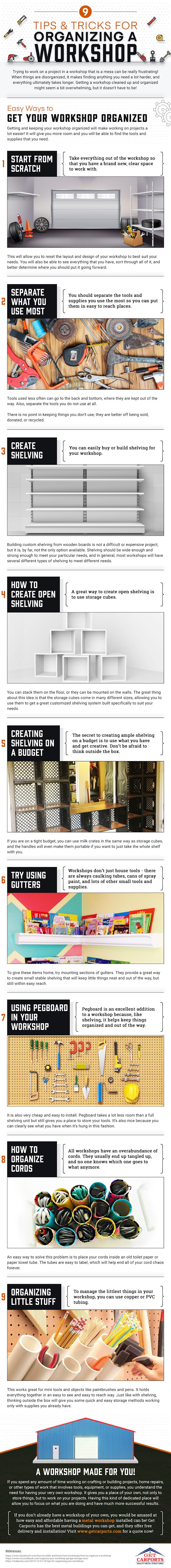 9 Tips and Tricks for Organizing a Workshop #infographic #workshop building construction #Workshop #Organizing #infographics