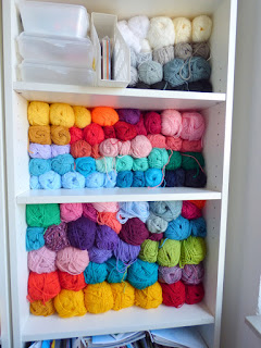 Colorful Yarn Stash Organization