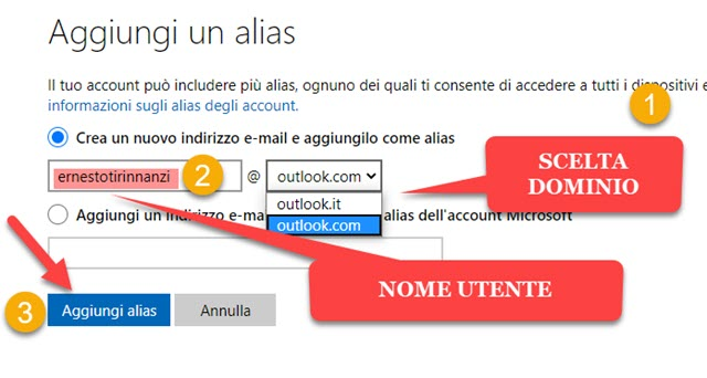 aggiunta di alias a outlook