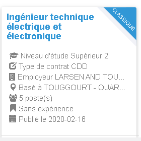 Ingénieur technique électrique et électronique Employeur LARSEN AND TOUBRO-3012