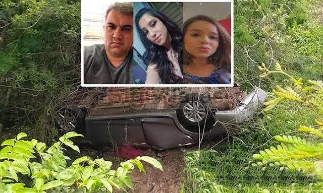 IMAGENS: Carro do pai ,filha e namorada desaparecidos é encontrado com 3 corpos dentro tombado em ribanceira