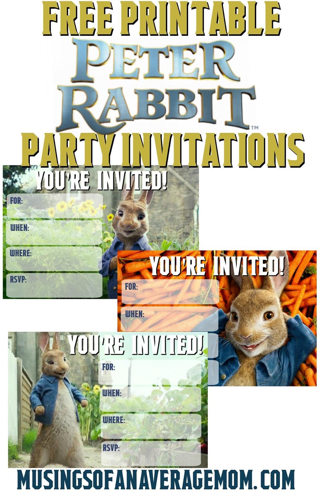 Musings of an Average Mom: Peter Rabbit Movie Invitations