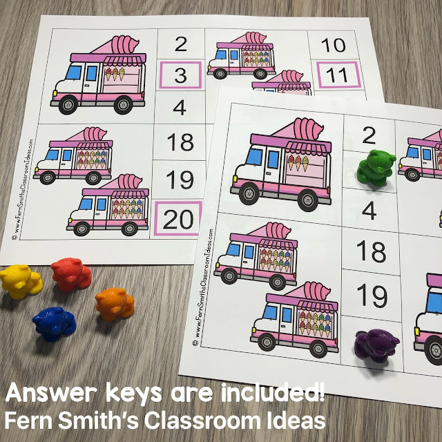 Click Here for the May Ice Cream Truck Counting Clip Cards