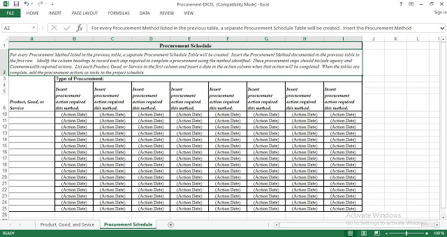 Procurement Plan and Schedule Template