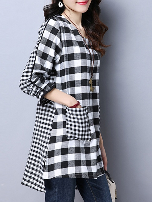 Round Neck Patch Pocket Plaid Long Sleeve T-Shirt-Summer Sale Price: US$23.95