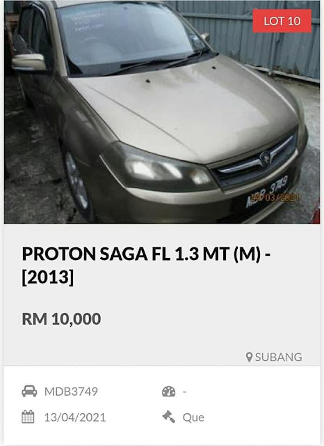 Proton Saga FL 1.3 MT tahun 2013 harga lelong RM10 ribu