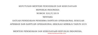 Permendikbud Nomor 31 Tahun 2019 Tentang Petunjuk Teknis BOS Afirmasi dan BOS Kinerja