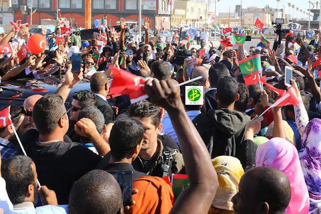 استقبال شعبي حاشد للرئيس التركي رجب طيب اردوغان بموريتانيا