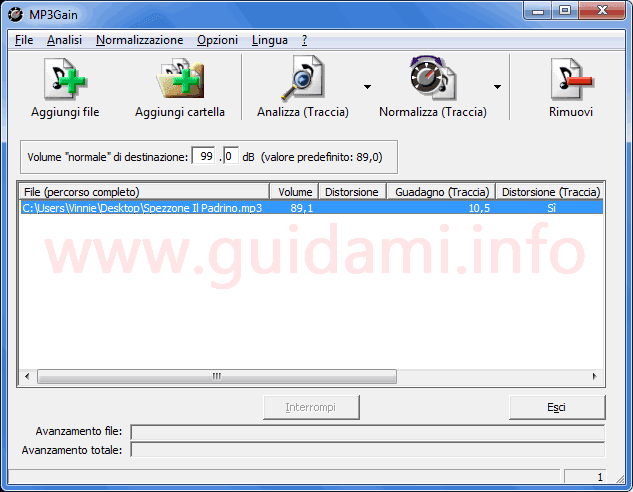 MP3Gain interfaccia grafica