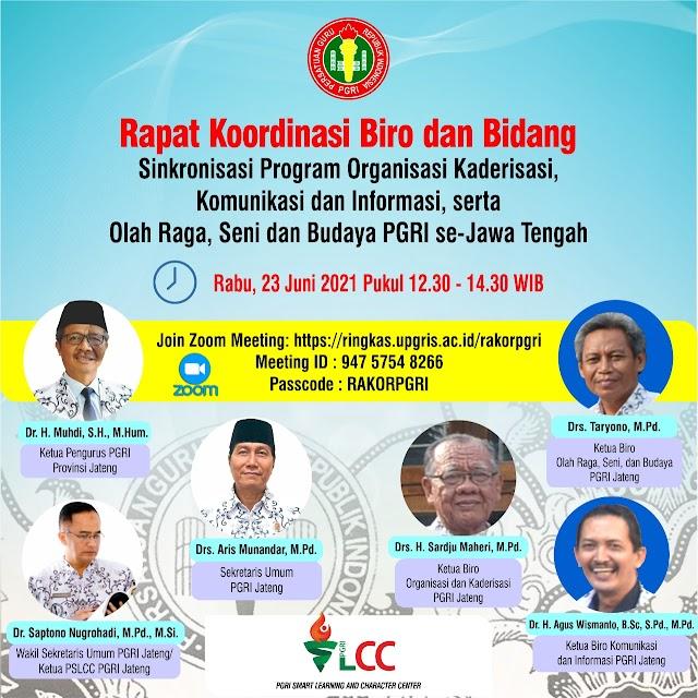 Rapat Koordinasi Bidang PGRI Kab/ Kota hari ini