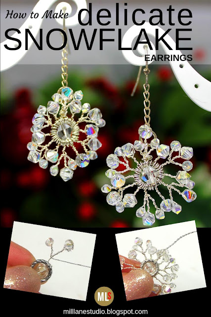 Crystal snowflake earrings inspiration sheet