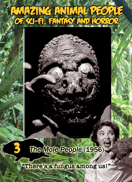 Amazing Animal People trading card #3: The Mole People, 1956