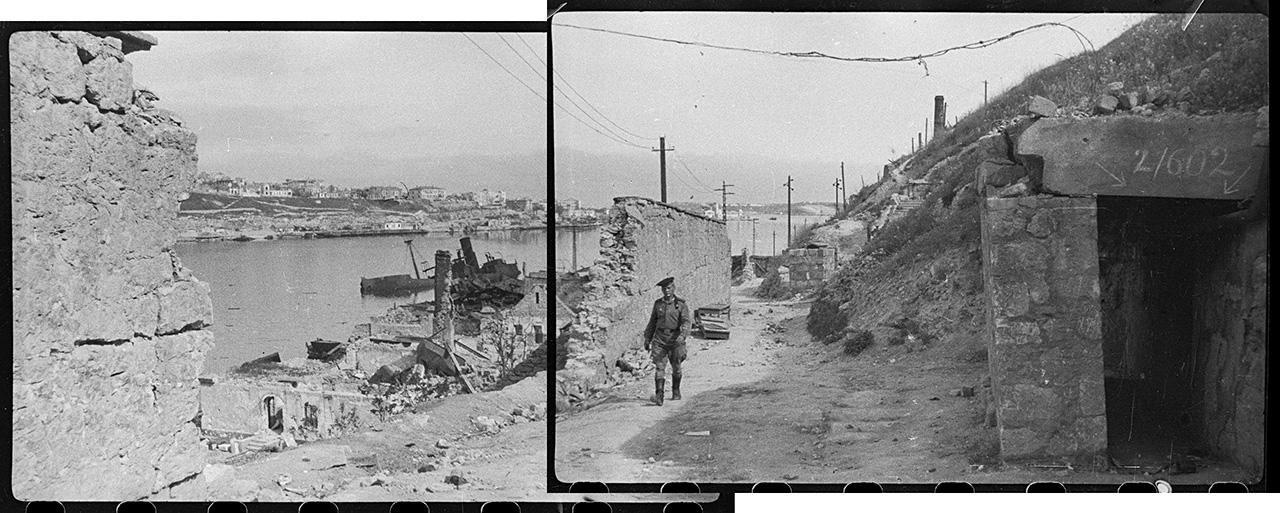 Южная бухта Севастополя с Корабельной стороны. Справа — вход в штольню, где размещался полевой госпиталь. 13 мая 1944 года
