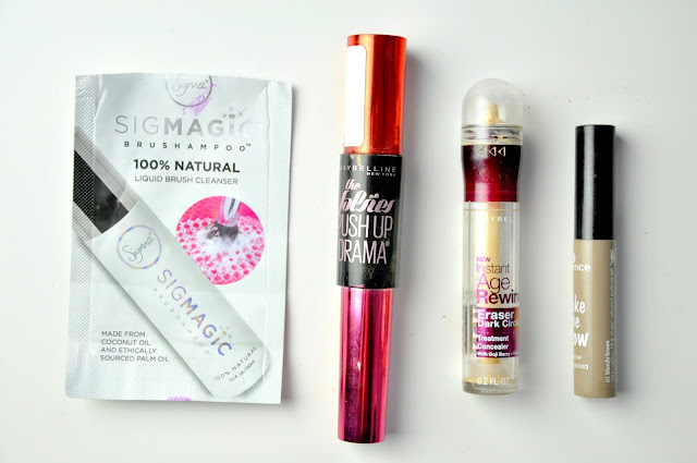 sigmagic brushampoo liquid brush cleanser płyn do czyszczenia pędzli, tusz do rzęs maybelline push up drama, korektor maybelline age rewind eraser dark cirlces treatment concealer, mascara do brwi essence make me brow