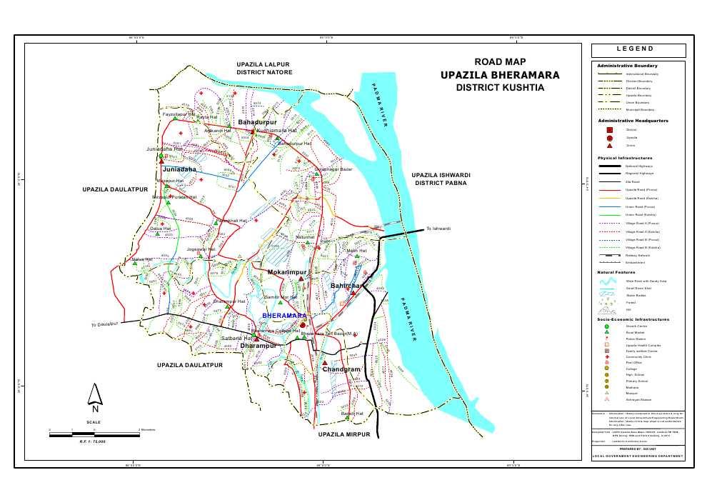 Bheramara Upazila Road Map Kushtia District Bangladesh