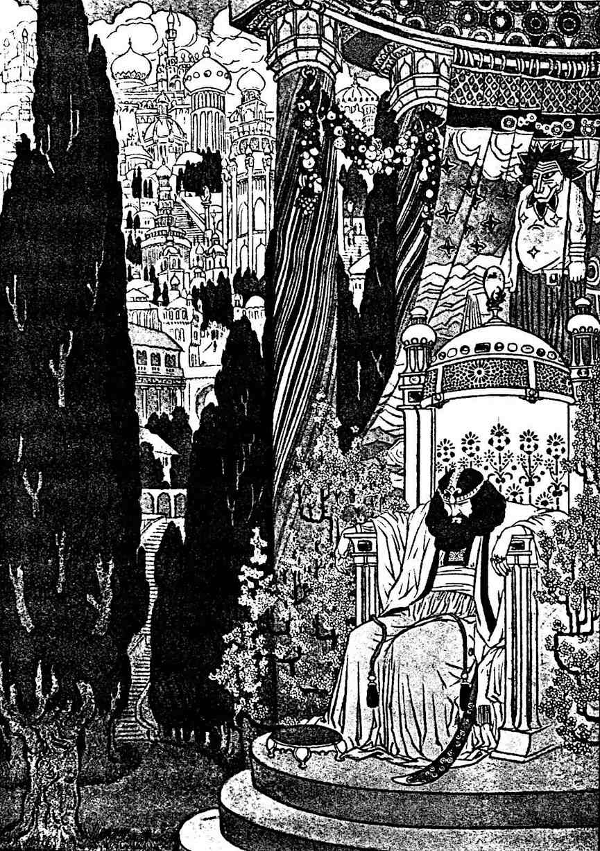 a Sidney Sime illustration of an unhappy king