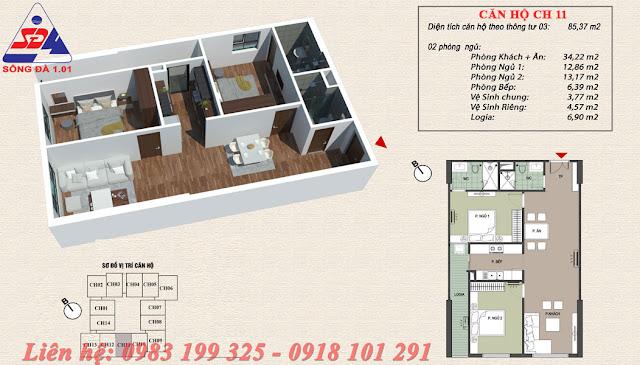 Thiết kế chung cư EcoGreen số 1 Giáp Nhị căn 11