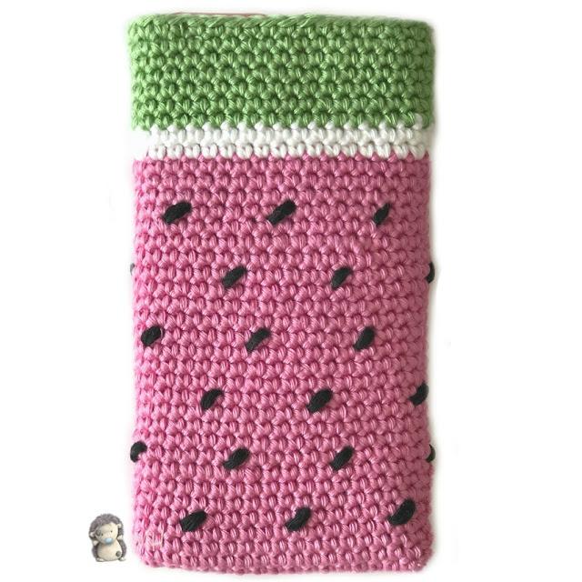 Funda de móvil sandía a crochet