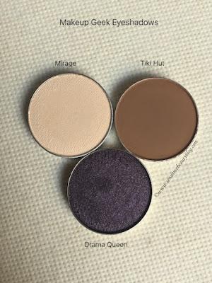 Makeup Geek Eyeshadows: Mirage, Tiki Hut, and Drama Queen swatches