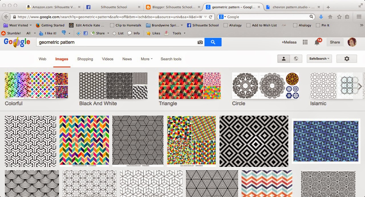 Patterns, adding, Silhouette Studio, easy steps, geometric patterns, search results
