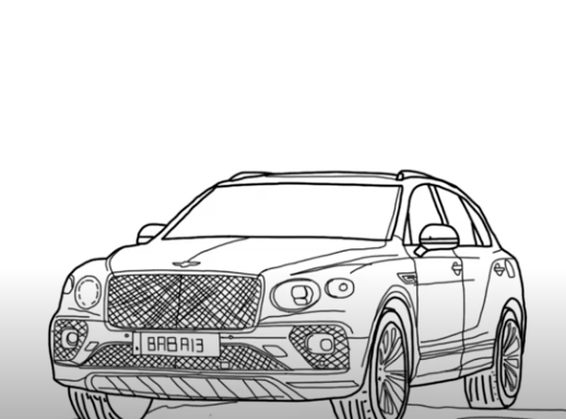 How to draw Bentley Bentayga Hybrid 2021 - Step by Step