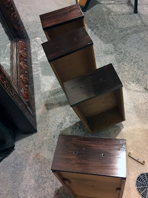 Stained desk drawers