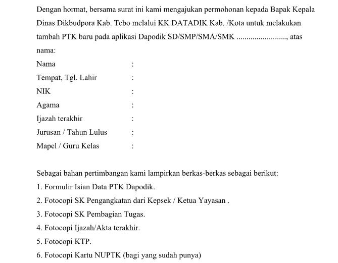 Surat Permohonan Penambahan PTK baru Aplikasi DAPODIK