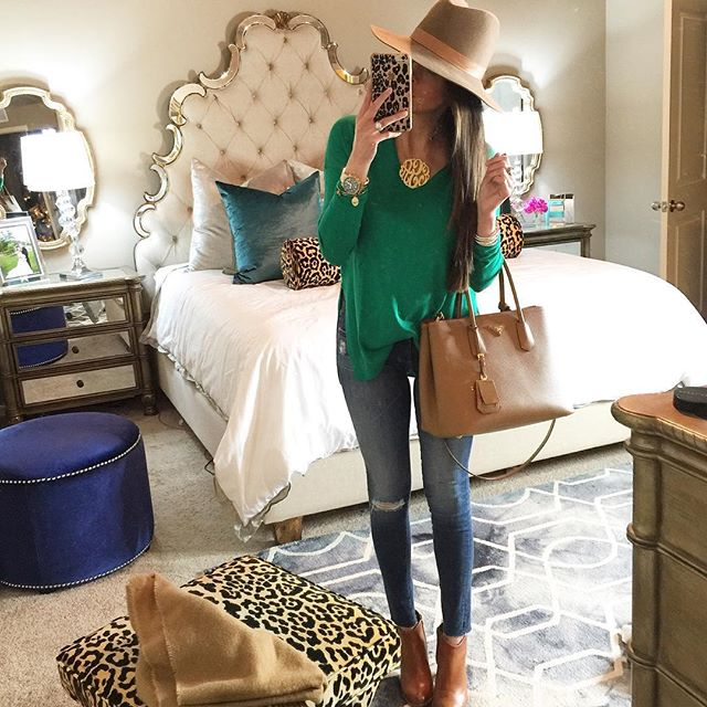 hooker furniture sanctuary bling bed, AG jeans, trouve sweater green, tan prada bag cuir, emily gemma room, the sweetest thing blog