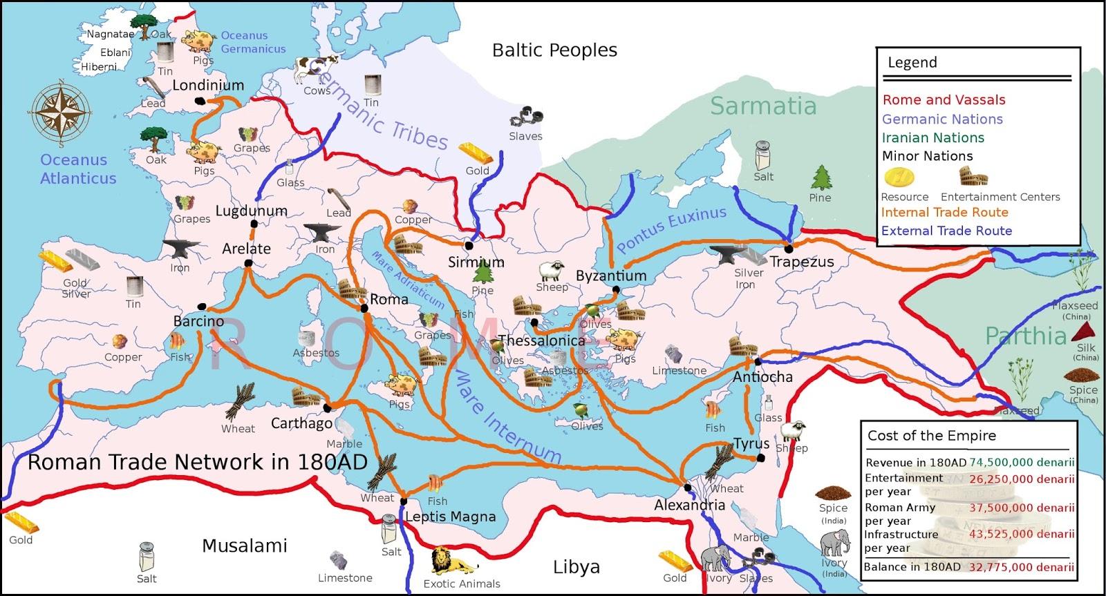 Trade Routes of the Roman Empire in 180 AD