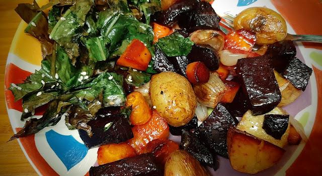 Roast veg and crispy seaweed chard