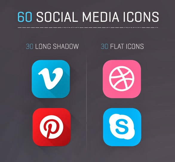 60 Flat and Long Shadow Social Media Icons