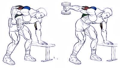 Triceps kickback (incline arm extension) with dumbbells.
