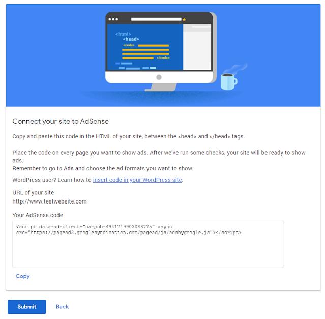 Applying for Google Adsense on Sites - Step 2