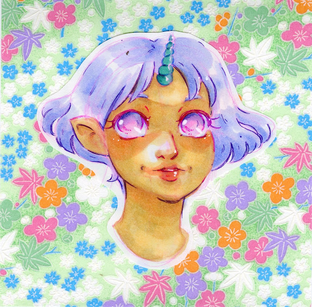 Copic markers and Chiyogami paper