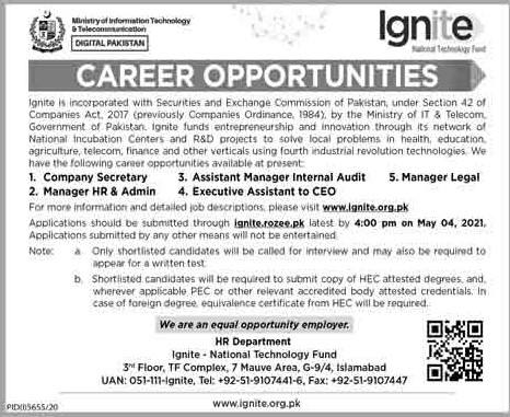 Ministry of Information Technology & Telecommunication Jobs 2021 in Pakistan