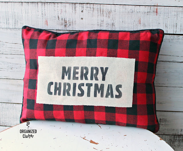 Saving A Poorly Stenciling Buffalo Checked Christmas Pillow