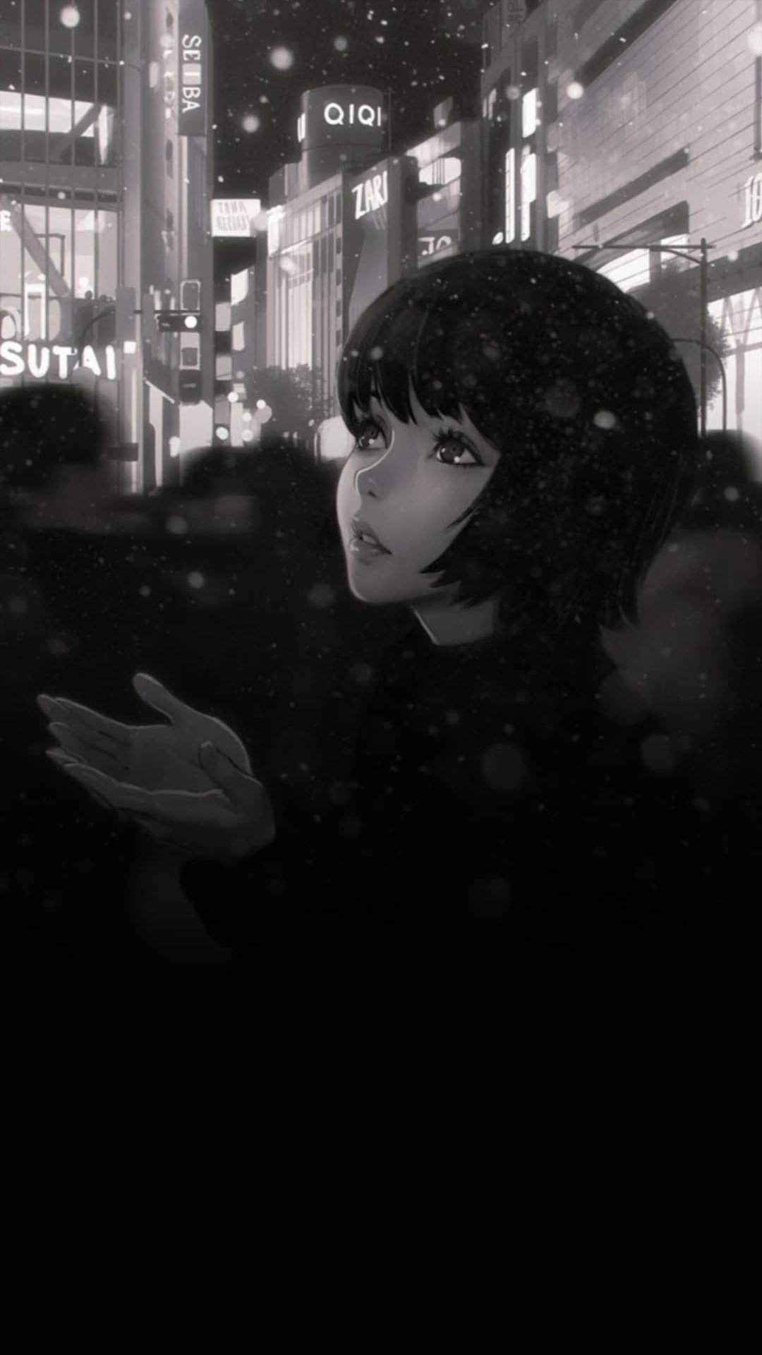 Anime girl wallpaper black and white