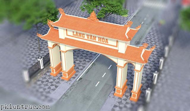 phối cảnh 3d cổng làng văn hóa