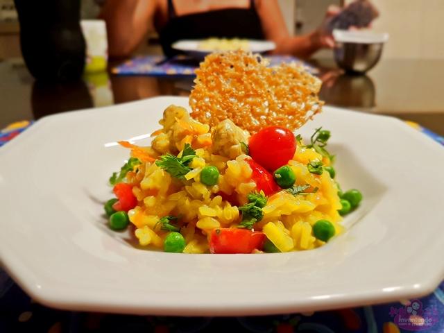 Risoto de frango com legumes