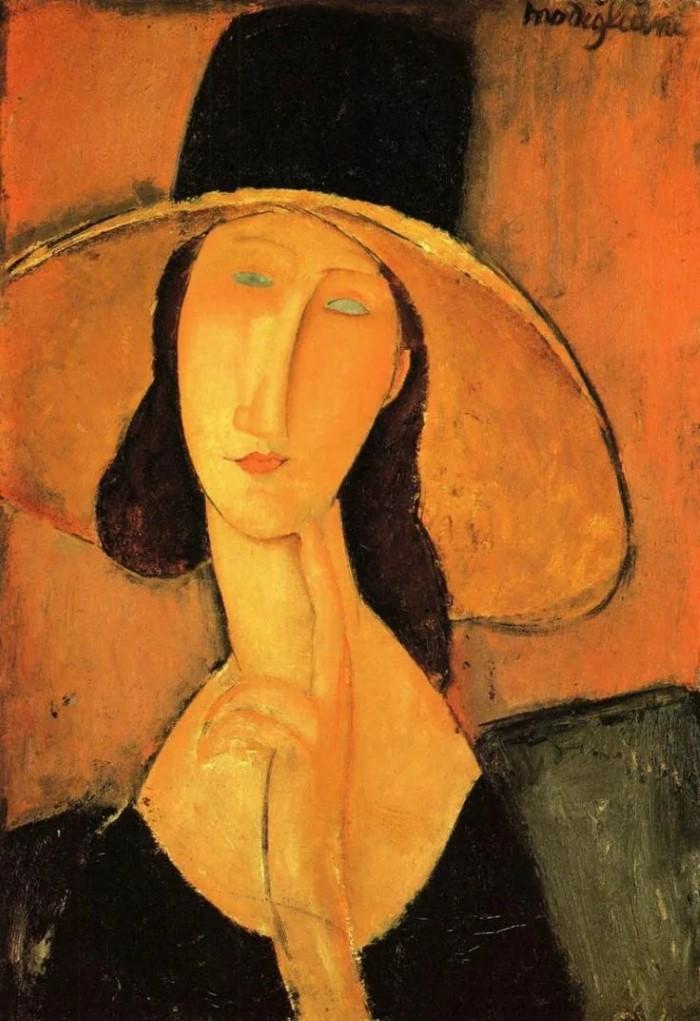 Jeanne Hebuterne in Large Hat. 1918г