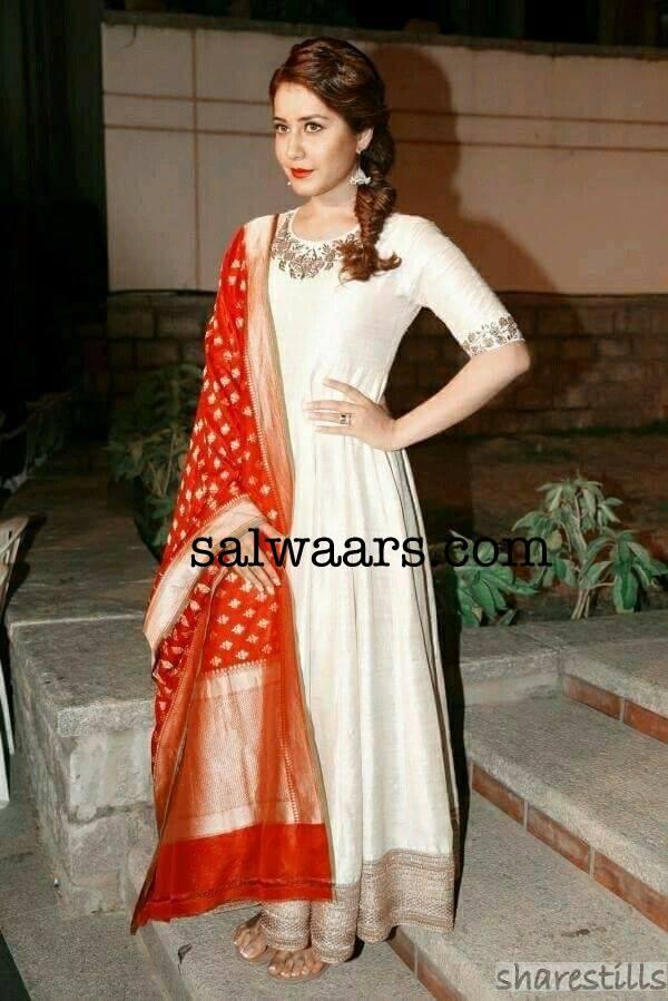 Rashi Khanna Off White Salwar Kameez