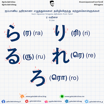 Japanese Hiragana R - Line Consonants with Stroke Order | learn Japanese hiragana alphabets from Tamil - Hiragana Letters Part 9