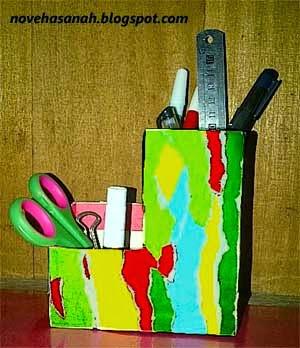 langkah-langkah membuat tempat pensil dari kotak teh celup