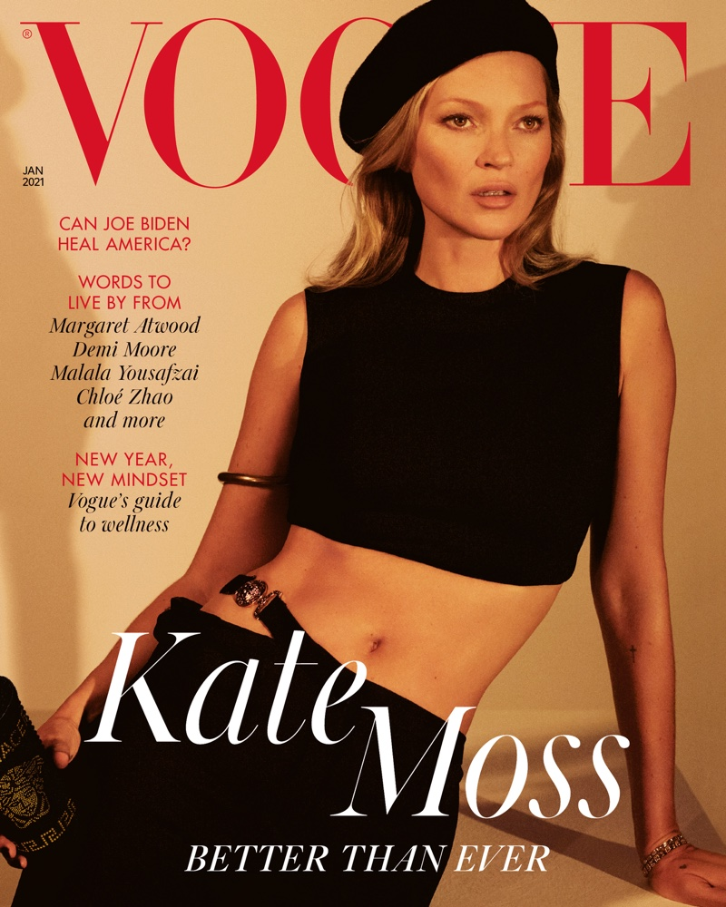 Supermodel Kate Moss wears Versace on Vogue UK January 2021 cover.