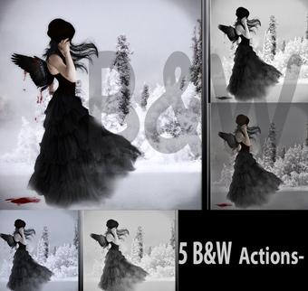 acciones de blanco y negro