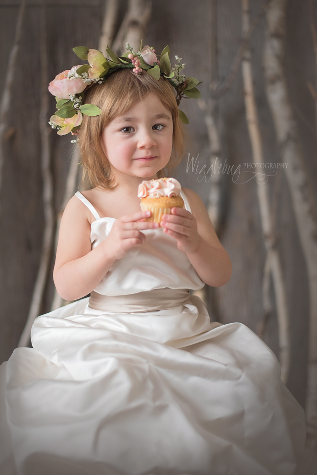 Stunning image of a little girl in her mother's wedding dress |Studio photographer in DeKalb Sycamore Geneva IL