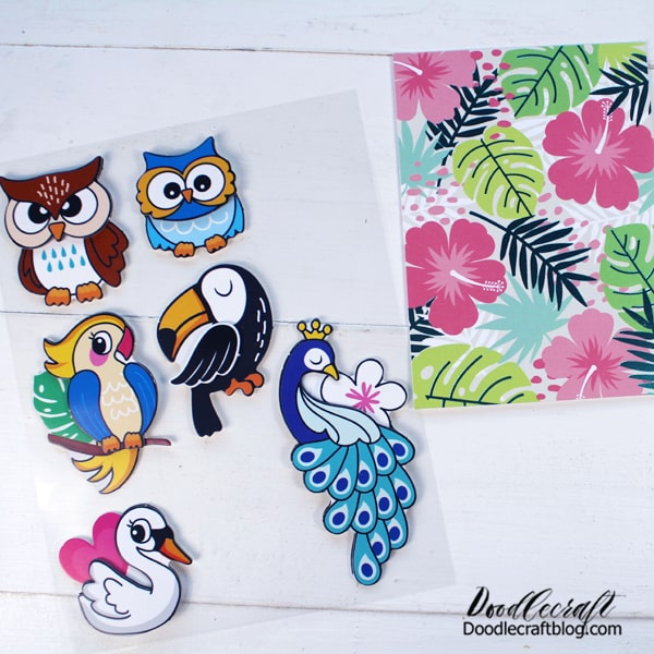Repeat this process of card making for all the stickers and cards you have. Use multiple stickers on one note card if desired too.  I love the tropical vibe of the birds and the flowers!