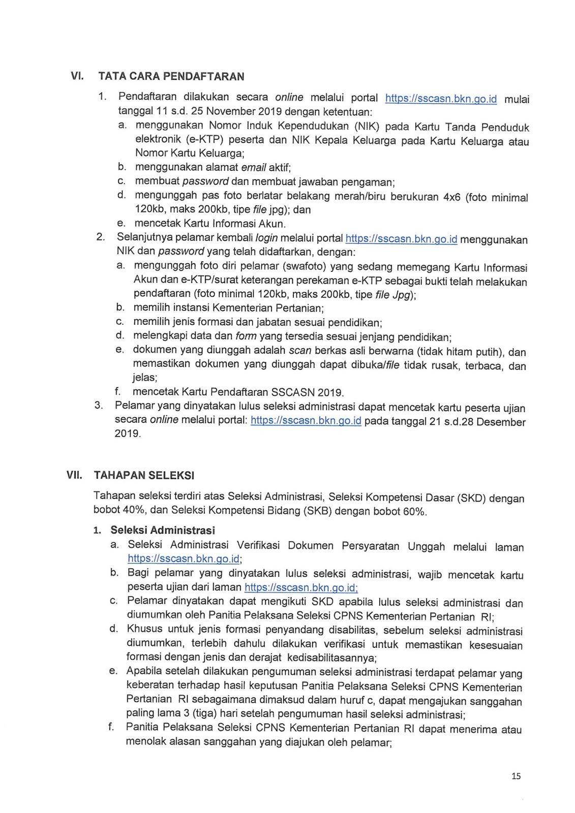 Pengumuman CPNS Kementerian Pertanian Tahun 2019 [520 ...