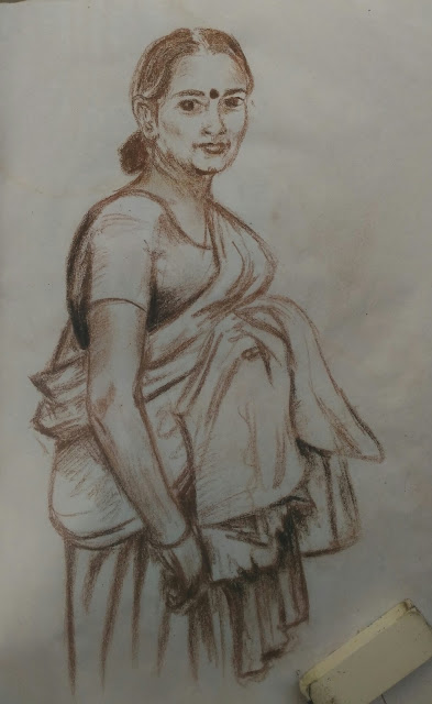 dry pastel drawing woman