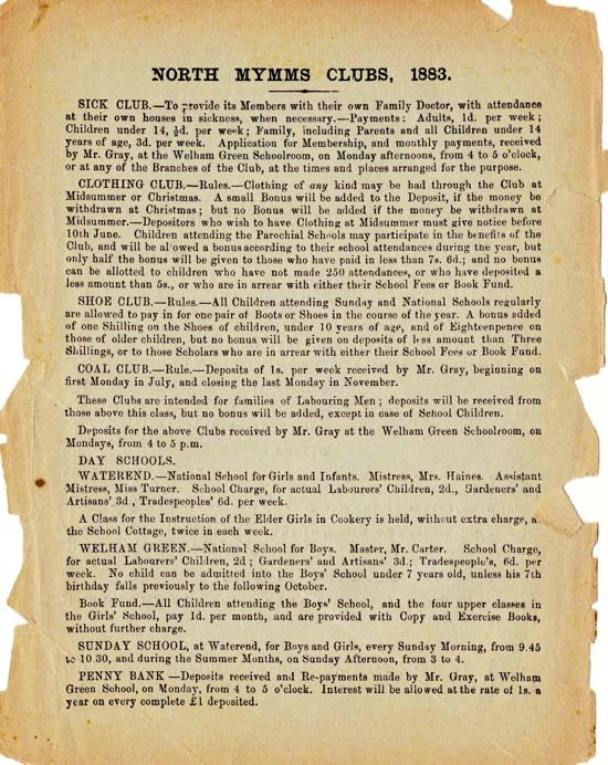 A scan of a page from a parish magazine in 1883 showing details of the clubs is featured below. Image from The Peter Miller Collection.
